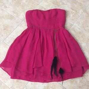 Cute strapless mini dress fuchsia size M